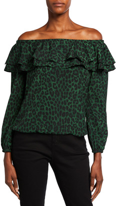 MICHAEL Michael Kors Spotted Cheetah Off-the-Shoulder Ruffle Peasant Top
