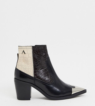 ASRA Exclusive Harmony western boots with hardwear in mixed mock croc leather