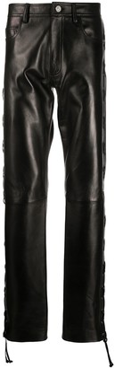 Versace Lace Up Leather Trousers