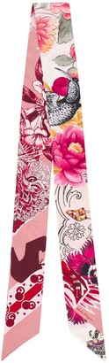 Salvatore Ferragamo Floral-Print Skinny Scarf