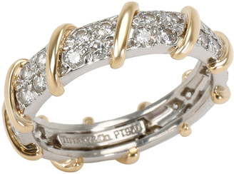 Tiffany & Co. Schlumberger Platinum & 18K Yellow Gold 7/8 CTW Diamond Band Ring Size 54