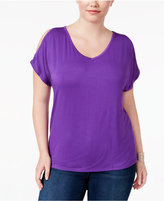 INC International Concepts Plus Size Cold-Shoulder V-Neck T-Shirt, Only at Macy's
