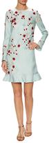 Monique Lhuillier Wool Embroidered Applique Dress