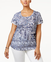 Style&Co. Style & Co Plus Size Embellished Mixed-Print Top, Created for Macy's