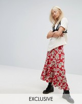 Milk It Vintage Tiered Festival Maxi Skirt In Floral Print