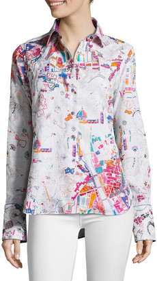 Robert Graham Limited Edition Beaded Cityscape Embroidered Button-Down Shirt