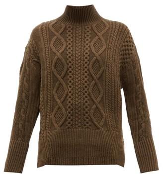 Proenza Schouler Cable Knit Wool Sweater - Womens - Dark Green