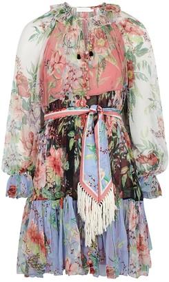 Zimmermann Bellitude Spliced floral-print silk dress