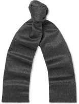 HUGO BOSS Scottas Fringed Cashmere Scarf - Charcoal