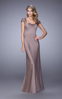 La Femme 21654 Embroidered Modified Sweetheart Satin Dress