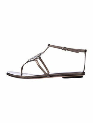 Gucci Interlocking G Logo Leather T-Strap Sandals Grey