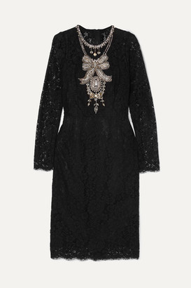 Dolce & Gabbana Crystal-embellished Corded Lace And Tulle Dress - Black