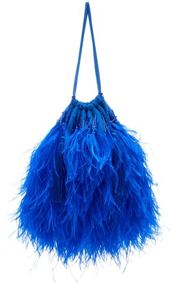 ATTICO Ostrich Feathers Embellished Bag