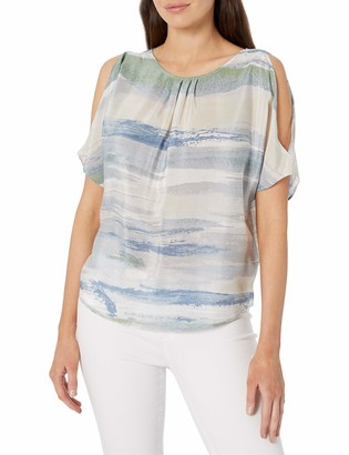 Nic+Zoe Women's Petites Watercolor Cold Shoulder Top