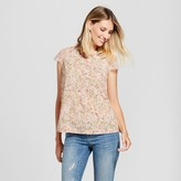 Merona Women's Floral Lace Sleeve Top Peach Floral