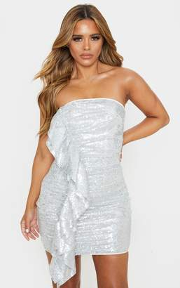 PrettyLittleThing Petite Silver Frill Detail Sequin Mini Dress
