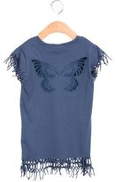 Zadig & Voltaire Girls' Fringe-Trimmed Butterfly-Embroidered Top