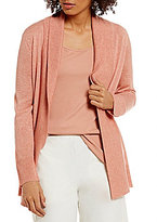 Eileen Fisher Shawl Collar Long Sleeve Open Front Ribbed Cardigan