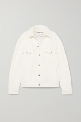 Balenciaga Oversized Embroidered Denim Jacket - White