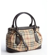 Burberry chocolate signature plaid coated canvas and leather top handle convertible satchel