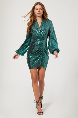 Girls On Film Belvedere Teal Foil Ruched Mini Dress