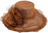 LETSQK Women's Organza Church Kentucky Derby British Party Wedding Sun Hat