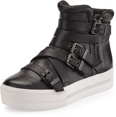 Ash Jet Leather Buckle Sneaker, Black