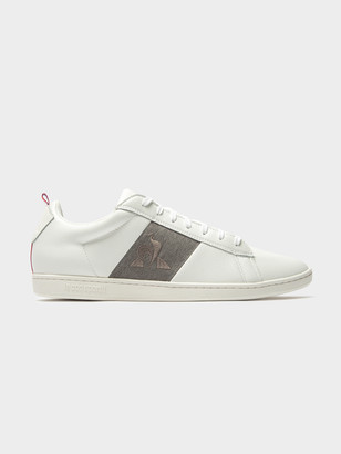 Le Coq Sportif Mens Court Classic Strap Sneakers on White Grey