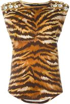 Balmain embellished zebra T-shirt - women - Cotton/Brass/glass - 40