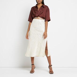 River Island Womens Beige bias tie waist maxi skirt