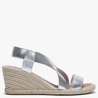 Daniel Coopster Silver Elasticated Strap Wedge Sandals