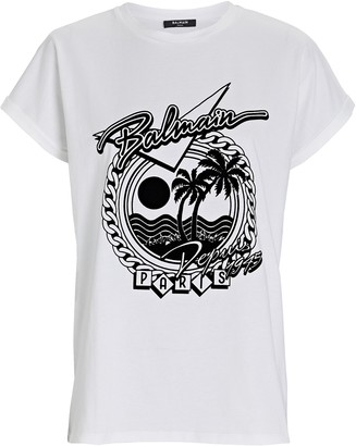 Balmain Palm Tree Logo T-Shirt