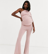 Queen Bee Maternity one shoulder ruched jumpsuit in pink