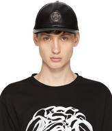 Versace Black Leather Medusa Cap