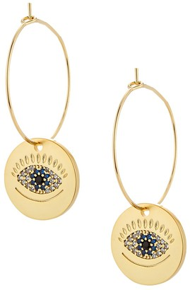 Eye Candy La Goldplated Crystal Evil Eye Drop Earrings