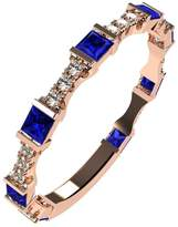 Nana Silver Stackable Ring Princess Cut Rose Gold Flashed - Size 8 - Simulated Sapphire - Sept. Birthstone