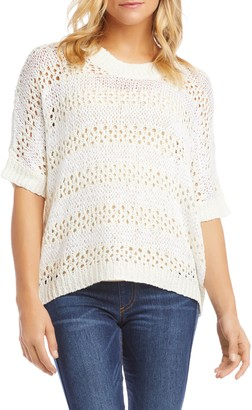 Karen Kane Crochet Short Sleeve Sweater