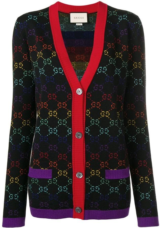Gucci knit logo print V-neck cardigan