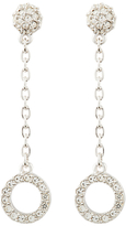 Susan Caplan Vintage 1980s D'Orlan Silver Plated Swarovski Crystal Clip-On Drop Earrings, Silver