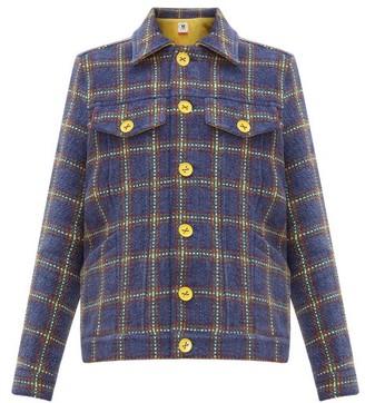 M Missoni Checked Upcycled Velvet Tweed Jacket - Womens - Navy Multi
