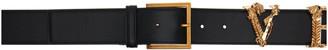 Versace Black and Gold Logo Belt