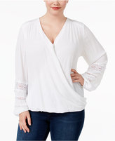 INC International Concepts Plus Size Surplice Top, Only at Macy's