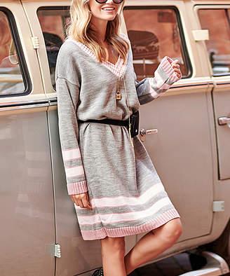 Melange Home Makadamia Women's Sweater Dresses grey - Gray Stripe V-Neck Sweater Dress - Women