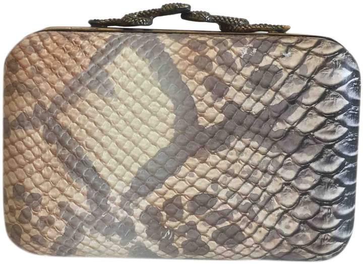 House Of Harlow Camel Leather Clutch Bag