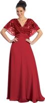Elizabeth K - Sequined V-neck Chiffon A-line Dress GL1145
