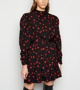 New Look Influence Heart Print Frill Mini Dress