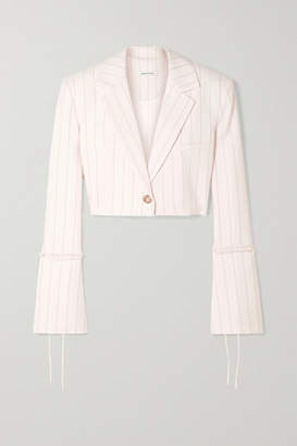 Orseund Iris Box Cropped Pinstriped Wool-blend Blazer - Cream