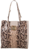 Lanvin Embossed Leather-Accented Tote