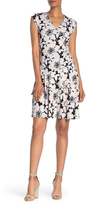 Robbie Bee Surplice V-Neck Ruffle Print Dress