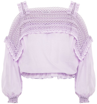 Charo Ruiz Ibiza Cury Cold-shoulder Crocheted Lace-paneled Cotton-blend Voile Blouse